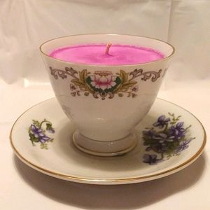 Teacup Candle on Saucer Victorian Floral Garden